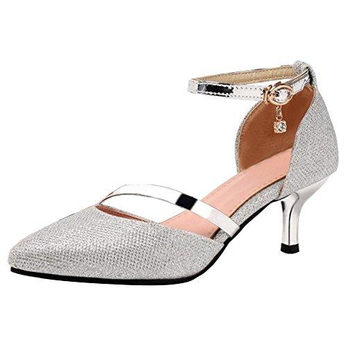 RAZAMAZA Damen Party Pumps Kitten Heel Sandalen Sommer Buro Schuhe Silver Gr 41 Asain