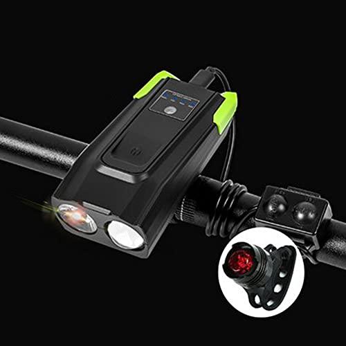 LULUMI Juego de luces para bicicleta de montaña, 4000 mAh, inducción, inteligente, luz delantera para bicicleta, recargable por USB, 800 lúmenes, luz LED con cuerno