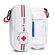MedBuddy Portable Travel Case - Holds 2 EpiPens or Auvi-Q, Inhaler, Allergy/Asthma - Expandable and Compact for Emergency Access (White)