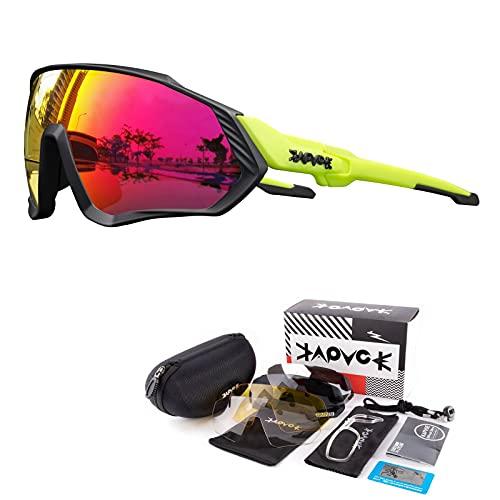 KAPVOE Gafas de Ciclismo Polarizadas con 5 Lentes Intercambiables para Hombres Mujeres Pantalla Completa TR90 Gafas de Sol Ligeras para Ciclismo Deportivo MTB 20