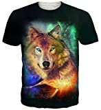 Goodstoworld T Shirt 3D Galaxy Wolf Druck Herren Damen Printed Sommer Lustig Beiläufige Kurzarm Cooles T-Shirts Tee Top M