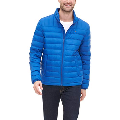 Tommy Hilfiger Men's Lightweight Water Resistant Packable Down Puffer Jacket (Standard and Big & Tall), Royal Blue, Medium