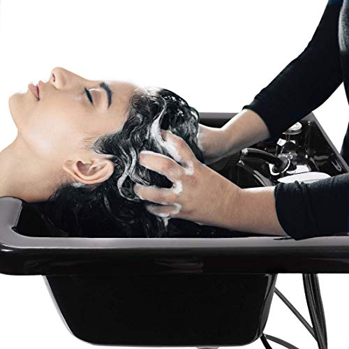 Shampoo Bowl Acrylic Fiber Lightweight Hair Wash Basin with Shower and Pipe System for Hair Salon...