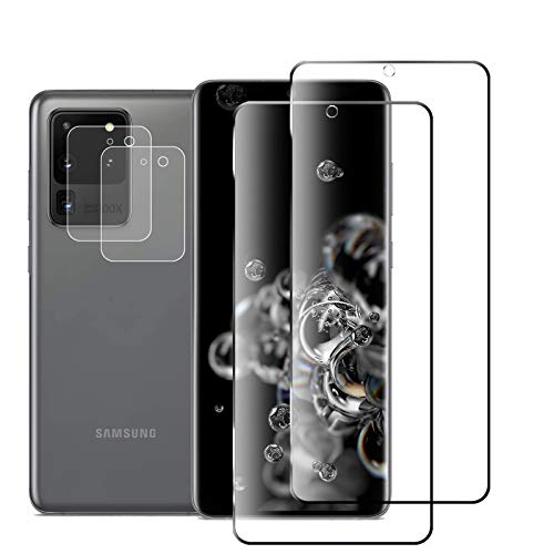 Price comparison product image JKPNK Galaxy S20 Ultra Screen Protector + Camera Lens Protector [2 Pack + 2 Pack] HD Full Coverage [Bubble-Free] Screen Protector for Samsung Galaxy S20 Ultra