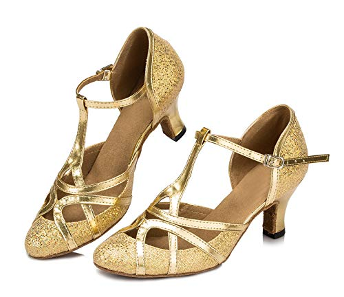 Minitoo qj6133Damen Geschlossen Zehen High Heel PU Leder Glitzer Salsa Tango Ballsaal Latin t-strap Dance Schuhe, Gold Gold-6cm Heel ,42 EU/8 UK - 2