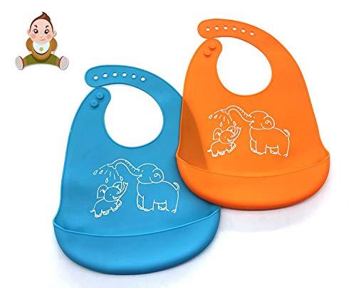 Baberos del bebé, 2 Pack Silicona Impermeable bebé baberos fácilmente limpia Limpie Silicona Alimentación baberos - cómodo suave impermeable bebés mantienen manchas fuera - Azul& naranja