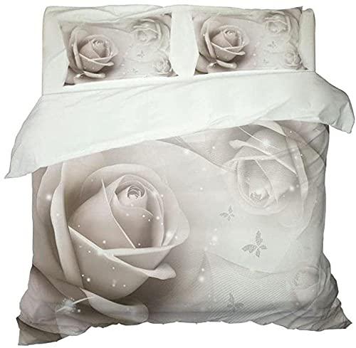 Ropa de Cama cálida y cómoda de Tres Piezas Que Incluye 1 Funda nórdica y 2 Almohada, impresión de Fundas con patrón de Rosas Blancas la del Dormitorio 200cm * 200cm-200x200cm + 50x75cmx2