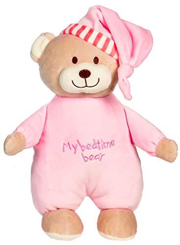 Spiel AG Baby Teddybär Schlafmütze mit integrierter Rassel 30 cm (Rosa)