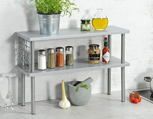 KESPER Küchen-Regal 27818 mit Utensilienaufhängung - grau/Küchenregal/Etagenregal
