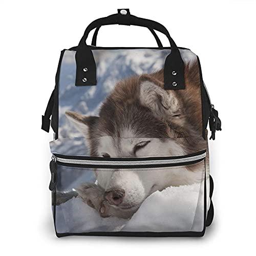 Bolsa de pañales Alaskan Malamute multifunción bolsas de pañales para el cuidado del bebé impermeable ancho abierto mochila de viaje para la organización