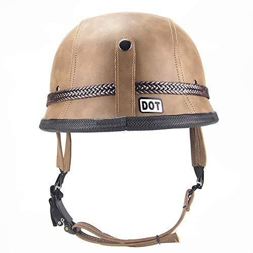 Pn&cc Motorrad-Vier-Jahreszeiten-Helm, Harley-Helm mit offenem Gesicht, Herren- und Damen-Sommerhelm mit DOT-Zulassung für Elektroroller aus Leder,Brass,M