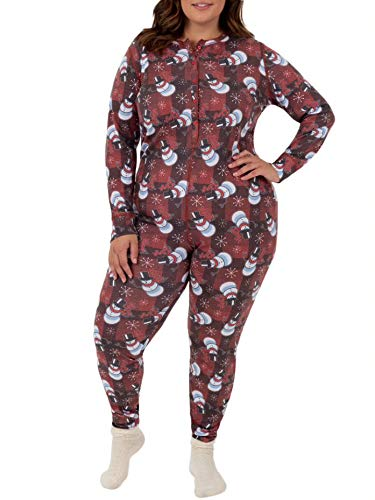 Fruit of the Loom Women's Plus Size Waffle Thermal Union Suit, Snowman, 3X