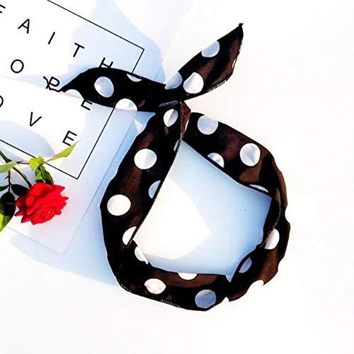 ASDAF Femmes rétro Bandana Lapin Oreille Bandeau Leopard rayé Plaid Bandeaux Bowknot élastique Fil de Fer Hairband Fleur Scrunchie Hot,Point Noir