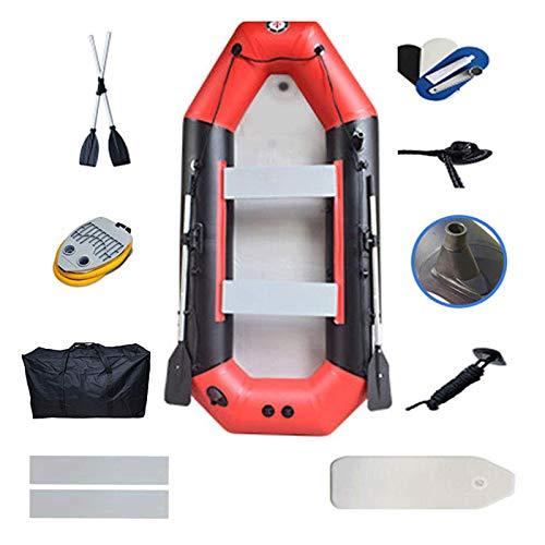 Kayak inflable de balsa para 4 personas, bote de pesca portátil, kayak de camuflaje con remos y bomba de aire, canotaje, pesca, caza o juego, en lagos, ríos y rápidos de aguas,Red-(4 people)