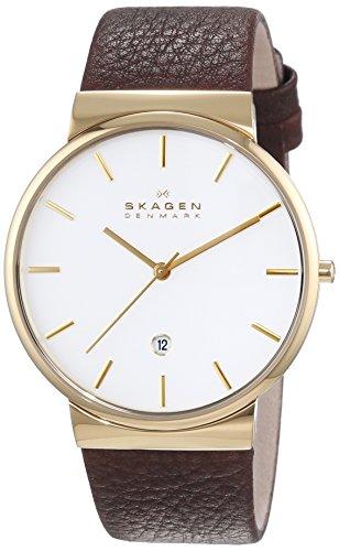 Skagen Herren-Armbanduhr XL Ancher Analog Quarz Leder SKW6142