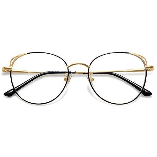 SOJOS Runde Brille Damen Blaulichtfilter Katzenaugen Computer-Gläser Handgemacht Hochwertig SJ5027 mit Schwarz&Gold Rahmen/Anti-Blaulicht Linse
