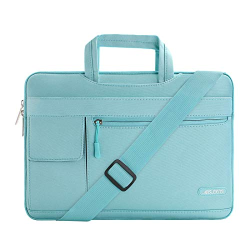 Check Out This MOSISO Laptop Shoulder Bag Compatible with 2019 MacBook Pro 16 inch A2141, 15 15.4 15.6 inch Dell Lenovo HP Asus Acer Samsung Sony Chromebook, Polyester Flapover Briefcase Sleeve Case, Mint Blue