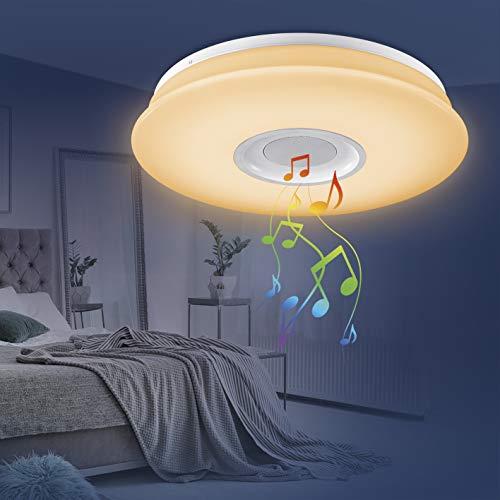 EASYmaxx 03460 LED-Deckenleuchte mit integriertem Bluetooth-Lautsprecher   Lampe, Partyleuchte & Bluetooth®-Lautsprecher   Dimmbar, Einfarbig oder automatischer Farbwechsel, inkl. Fernbedienung