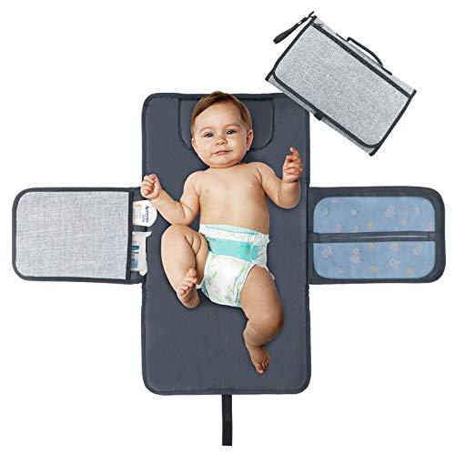 Idefair tragbar Wickelunterlage, wasserdicht Wickelunterlage mit Kopfpolster, Taschen, zusammenklappbar Infant Urinal Pad Baby Wickelunterlage Kit für Home Reisen Außerhalb