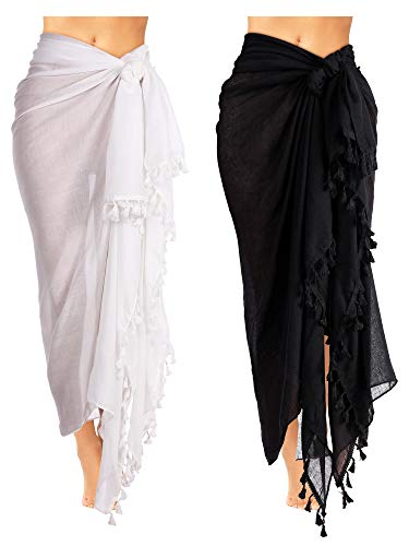 2 Pieces Women Beach Batik Long Sarong Swimsuit Cover up Wrap Pareo with Tassel for Women Girls (43 x 71 Inches)