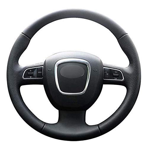 JIERS Cubierta del Volante del Coche, para Audi A3 (8P) A4 (B8) A5 2008-2010 A6 (C6) 2007-2011, Funda de Cuero para Cubiertas de Volante de Coche