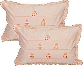 "Rj Products Pure Cotton Standard Size Orange Pillow Cover (Set of 2) - 18""x28""- Flower Leaf Pattern"
