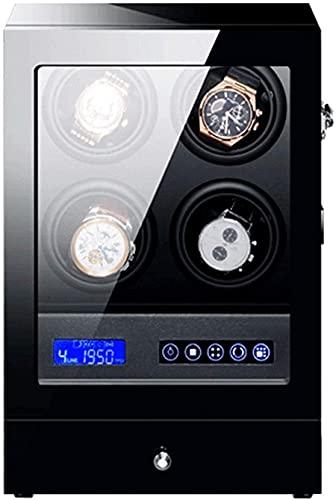 Schmuckschatulle Für Damen Uhrenbeweger Für 4 Automatikuhren Mit Led-Hintergrundbeleuchtung Aufbewahrungsschublade Lcd Touch Sn Display Light Leiser Motor Piano Finish High-End