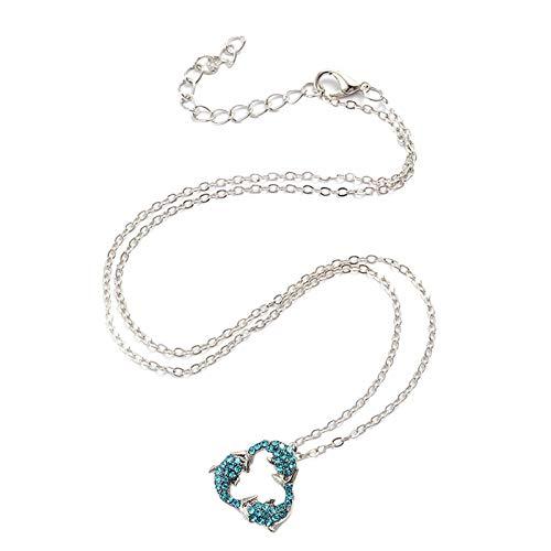 Halskette mit Delfin-Anhänger, niedlicher Strass-Stein, Blau
