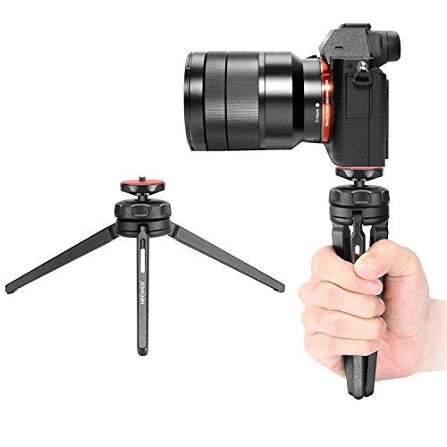 Neewer, Mini-Tisch-Stativ, Stabilisierungsgriff, leicht, tragbar, Aluminium-Legierung, mit drehbarem Kugelkopf für DSLR-Kameras, Smartphones, Video-Camcorder bis zu 3 kg (schwarz)
