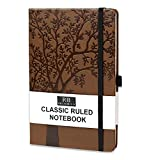 RICCO BELLO College Ruled Hardcover Lined Lay Flat Journal Notebook - Vegan Friendly Faux Leather, Elastic Closure, Pen Loop, Bookmark, Inner Pocket, 192 Lined Pages, 5.7 x 8.4 inches (Art Tree)