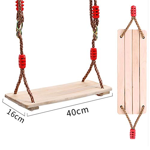 HGDD Swing Children's Swing Wooden Swing Wooden Tree Swings Seat Adjustable, Birch Wood Durable Can Withstand 150 KG, Sturdy Swings For Adult Kids Children Garden,Yard, Indoor Use (Size : 40cm)