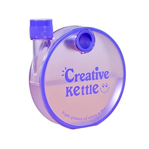 TraditionalSports Presents Kreativer Wasserkocher rund flach Schnecke Kunststoff Notebook Wasserflasche 350ml (lila)