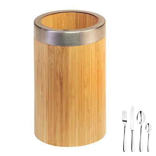 Westmark Utensilienhalter/Küchen-Organizer, rund, mit Edelstahlrand, Maße: ø10 x 16 cm, Bambus/Edelstahl, Tapas + Friends, Hellbraun/Silber, 69852270, 160 x Ø 100 m