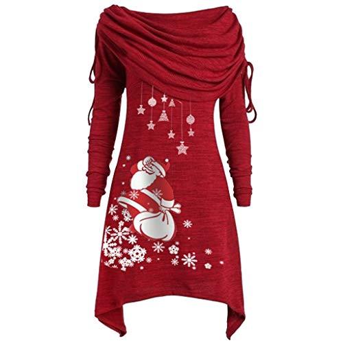 Lazzboy Weihnachten Damen Lange Asymmetrisch Shirt Tunika Schalkragen Pullover Pulli(Rot-Weihnachten,5XL)