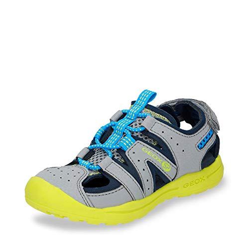 Geox VANIETT Boy J925XA Jungen Trekking Sandalen,Kinder Outdoor-Sandale,Sport-Sandale,geschlossener Zehenbereich,Grey/Lime,32