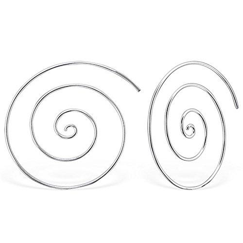 DTPsilver - Damen - Ohrringe Ohrhänger Durchzieher 925 Sterling Silber Spirale
