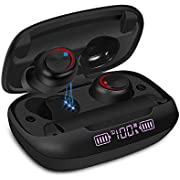 Ceppekyy Wireless Earbuds, Bluetooth 5.0 Earphones in-Ear TWS Stereo Headphones Deep Bass 60H Playtime with 1400mAh Charging Case LED Battery Display, IPX7 Waterproof Built-in Mic Headsets for Sports