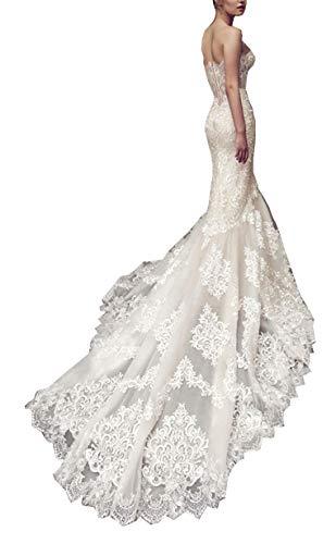 CGown Damen Romantische Trägerlos Meerjungfrau Brautkleid Schleppe Spitze Applikation Perlen Ballkleid Hochzeitskleid