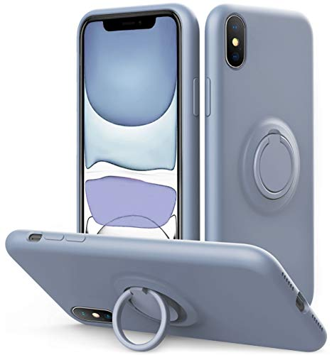 Vooii iPhone Xs/X Case Kickstand | Baby Grade Liquid Silicone | 10ft Drop Tested Protective, Microfiber Lining Shockproof Full-Body Cover Case for iPhone Xs/X (Lavender Grey)
