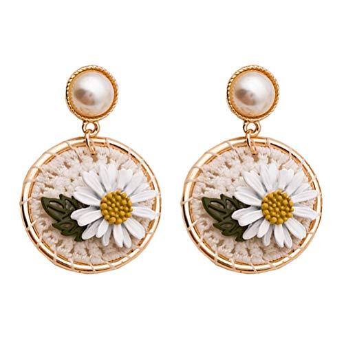 ABOOFAN 1 Pair Daisy Flower Eardrop Fashion Fairy Earring Ornament Simple Ear Jewelry Decor ( White Flower )