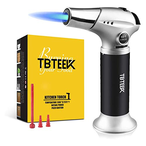 TBTEEK Kitchen Torch, Fit All Tanks Butane Torch Cooking Torch with Safety Lock & Adjustable Flame for Cooking, BBQ, Baking, Brulee, Creme, DIY Soldering(Butane Not Included)
