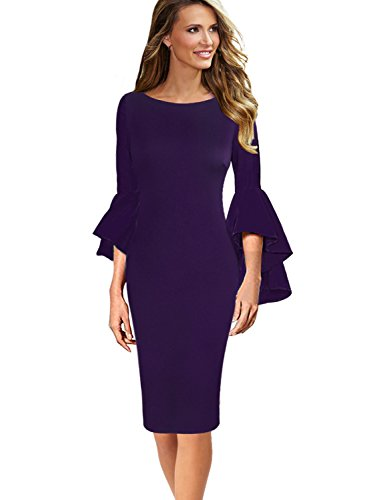 VFSHOW Womens Ruffle Bell Sleeves Business Cocktail Party Sheath Dress 1396 PUP S Purple