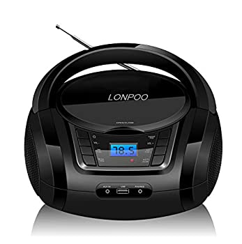LONPOO CD Player Portable Boombox with FM Radio/USB/Bluetooth/AUX Input and Earphone Jack Output Stereo Sound Speaker & Audio Player,Black