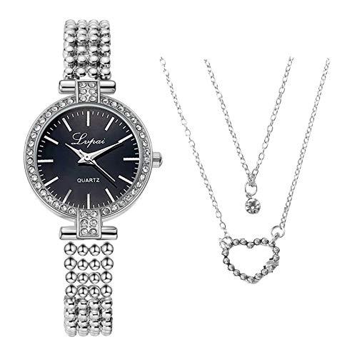 YUEMEI Reloj De Diamantes De Agua Con Collar colgante de corazón de melocotón, Moda Minimalista Elegante Con Reloj De Cuarzo Para Mujer Con Esfera De Correa Reloj De Regalo (b2)