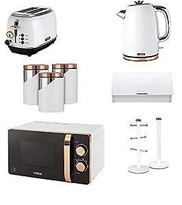 Rose Gold & White Tower Kitchen Appliance Retro Set of 9 - Manual 20 Litre Microwave, 1.7L Jug Bottega Kettle & 2 Slice Toaster, Retro Bread bin, 3 Canisters, Towel Pole and 6 Mug Tree Set