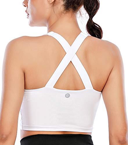 RUNNING GIRL Women's Longline Sports Bra Workout Crop Tank Tops Built in Bra Padded Medium Support Yoga Bra(WX2568 White,M)