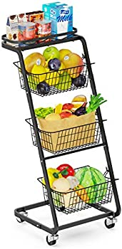 Veckle 4 Tier Rolling Removable Metal Wire Market Basket Stand