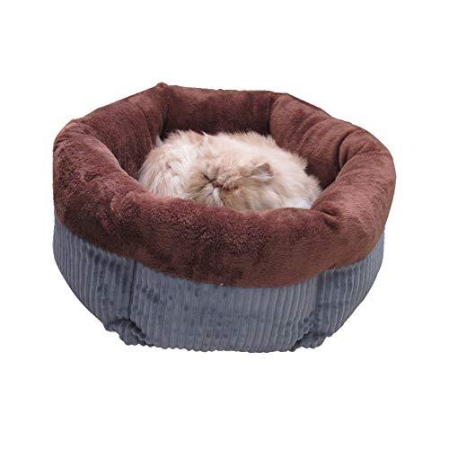 XHPWW Mascota Perro Suave Gato Cama Casa Calentamiento de Invierno Nido Estera Saco de Dormir para Perros pequeños Perreras de Peluche (Marrón)-S