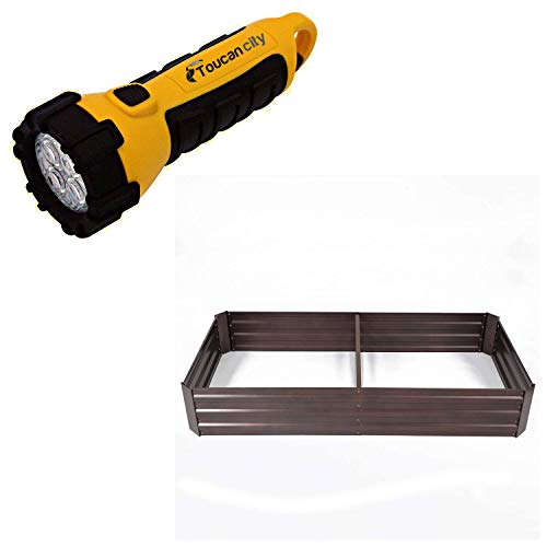 Toucan City LED Flashlight and Winsome House 6 ft. x 3 ft. Metal Rectangular Garden Bed WHPL913