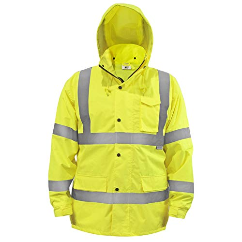 JORESTECH Safety Rain Jacket Waterproof Reflective High Visibility with Detachable Hood and Interior Mesh Yellow/Lime ANSI Class 3 Level 2 Type R JK-03 (XL)